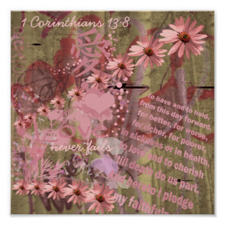 Love Never Fails ConeFlower Collage Print