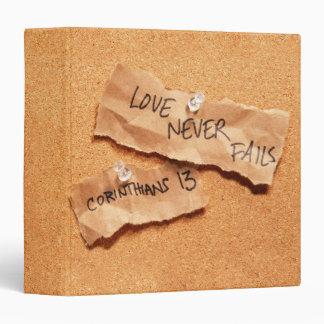 "Love Never Fails Corkboard 1.5"" Photo Album 3 Ring Binder"