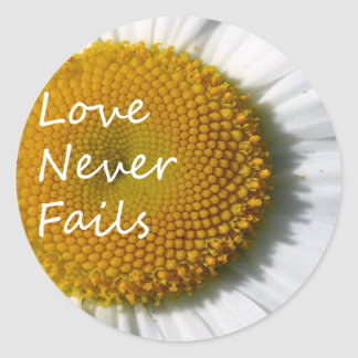 Love Never Fails Daisy 1 Corinthians 13 Classic Round Sticker