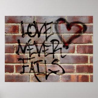 Love Never Fails Graffiti Poster