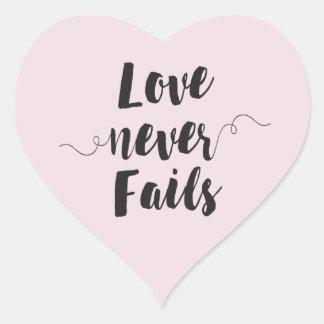 Love Never Fails heart shaped sticker