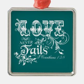 Love Never Fails I Corinthians 13:8 Christmas Ornaments