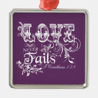 Love Never Fails I Corinthians 13:8 Ornaments
