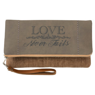 """""""Love Never Fails"""" Leather and Tacks Clutch"""