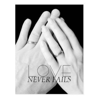 Love Never Fails Married Hands Postcard