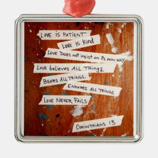 Love Never Fails Metal Ornament