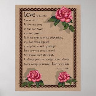 Love Never Fails: Pink Roses: Bible: Corinthians Posters