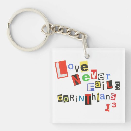 Love Never Fails Ransom Note Style Keychain