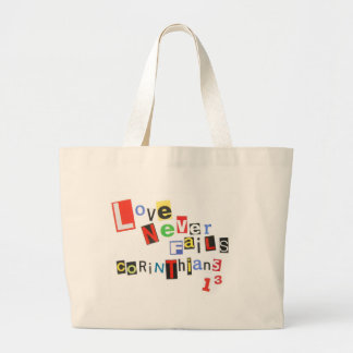 Love Never Fails Ransom Note Totebag Large Tote Bag