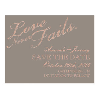 Love Never Fails Rustic Save The Date Postcard