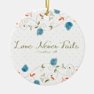Love Never Fails Scripture Ceramic Ornament