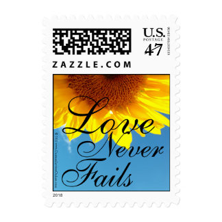 Love Never Fails Summer Blue Sky, Yellow Sunflower Postage