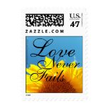 Love Never Fails Summer Blue Sky, Yellow Sunflower Postage