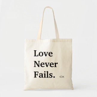 Love Never Fails tote. Tote Bag