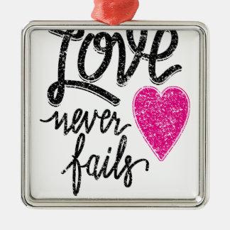 love never fails, vintage heart metal ornament