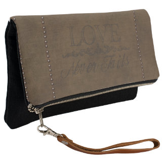 """""""Love Never Fails"""" Vintage Leather and Tacks Clutch"""