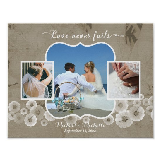 Love Never Fails Wedding Photo Collage Poster