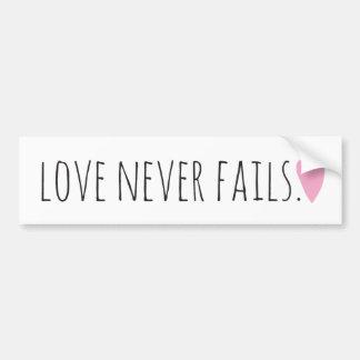 Love Never Fails with Heart Bumper Sticker