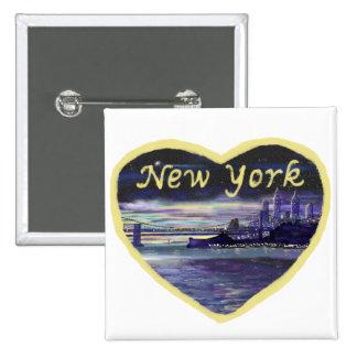 Love New York novelty art badge 15 Cm Square Badge