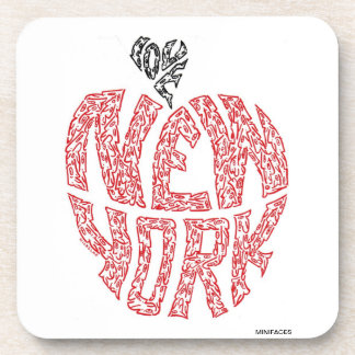 LOVE NEW YORK - The 'Big Apple', made of faces Beverage Coaster