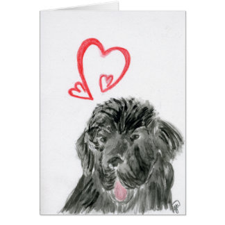 Love Newfoundland dog watercolor Card