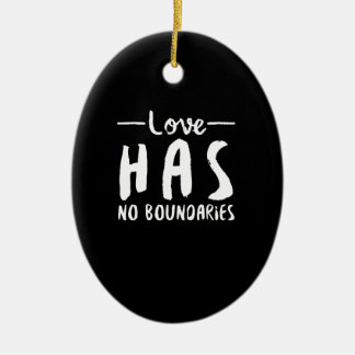 Love No Boundaries Double-Sided Oval Ceramic Christmas Ornament