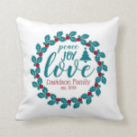 Love Nordic Scandia Personalized Wreath Throw Pillow