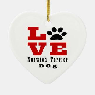 Love Norwich Terrier Dog Designes Ceramic Ornament