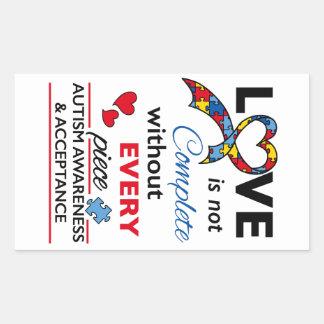 Love Not Complete - Autism Awareness Rectangular Sticker