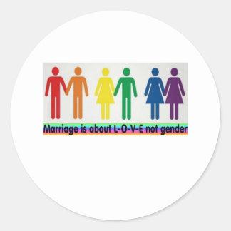 Love not gender classic round sticker