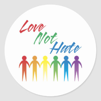 Love Not Hate Gay Stickers