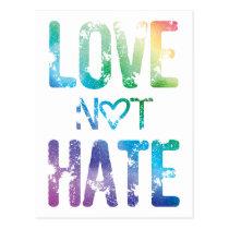 LOVE NOT HATE LGBT PRIDE POSTCARD