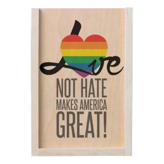 Love Not Hate (Rainbow) Wooden Keepsake Box