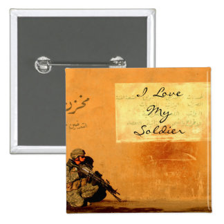 Love Note on the Wall Military Soldier 2 Inch Square Button