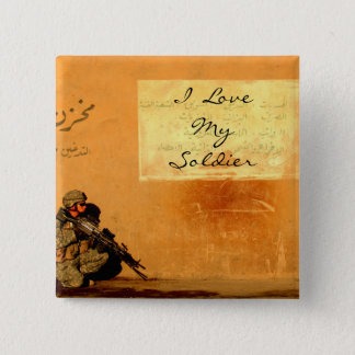 Love Note on the Wall Military Soldier Pinback Button