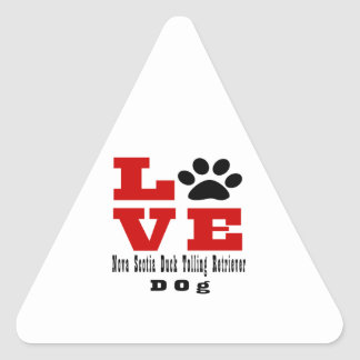 Love Nova Scotia Duck Tolling Retriever Dog Design Triangle Sticker
