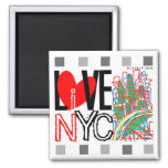 Love NYC & Live In NYC Square Magnet