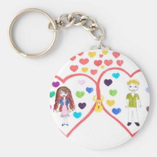 love oasis basic round button keychain