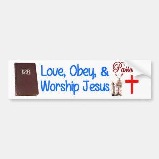 Love, Obey & Worship Jesus Car Bumper Sticker