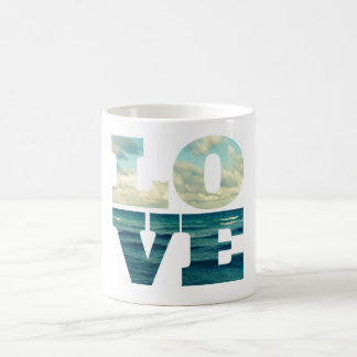 LOVE OCEAN AND SEA PHOTO LETTERS WORD MUG