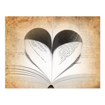 Valentines Themed Love of Books Postcard