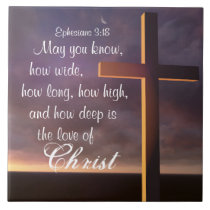 Love of Christ Bible Verse and Cross Ceramic Tile