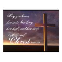 Love of Christ Bible Verse and Cross Postcard