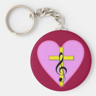 Love of Christian Music Basic Round Button Keychain