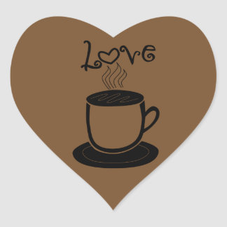 Love of Coffee - Change Color Heart Sticker
