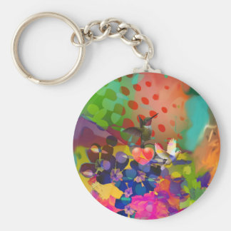 Love of Nature with multicolor background. Keychain