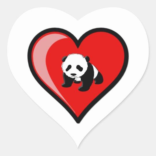 love of Panda Heart Sticker