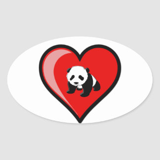 love of Panda Oval Sticker