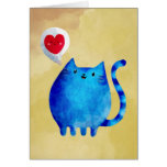 Love of The Blue Kitty Cat Card