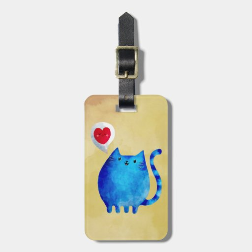 Love of The Blue Kitty Cat Luggage Tags
